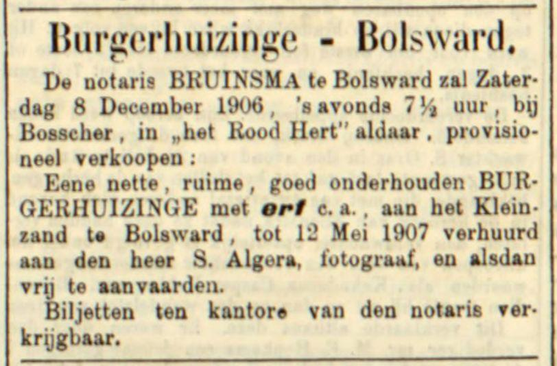 Advertentie in de Leeuwarder Courant, 30 nov. 1906