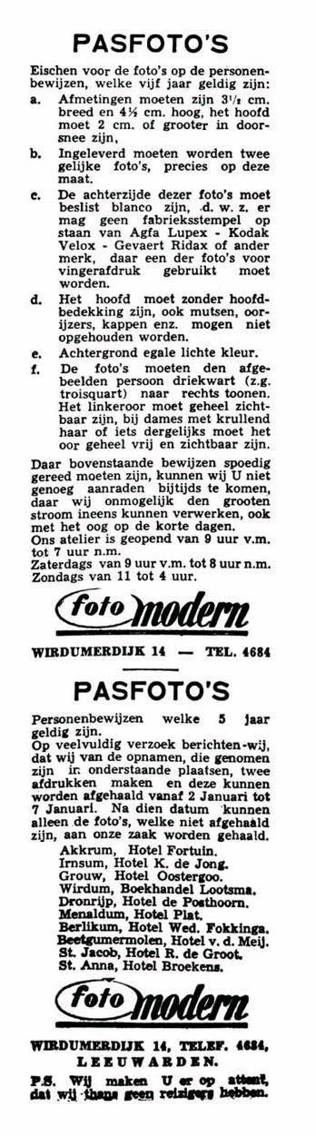 advertentie LC 9 dec. 1940